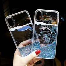 Cute Dolphin Dynamic Liquid Glitter Quicksand Phone Case Cover For iPhone/Huawei