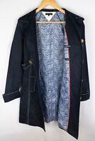 Tommy Hilfiger Women Jacket Coat Casual Linen Blue Collared Neck size M UK12