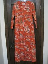 Orange 60s 70s floral dress Checkaberry house dress maxi vintage