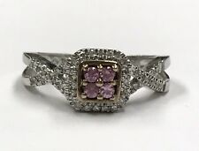 925 Two Tone Round Pink Sapphire & Diamond Cluster Halo Twist Band Cocktail Ring