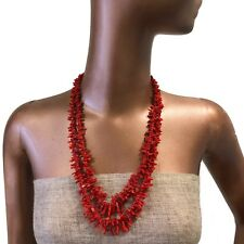 Hot Red Genuine Natural Coral Necklace Bohemian N2413e