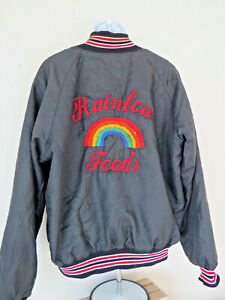 Vtg BLACK BUTWIN RAINBOW FOODS Satin Feel Letterman Style Embroidered Snaps 80s