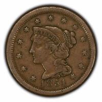 1851 1c Braided Hair Large Cent - Original VF Coin - SKU-Y2823