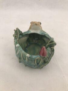 Vintage Ceramic Frog Lily Pad Planter