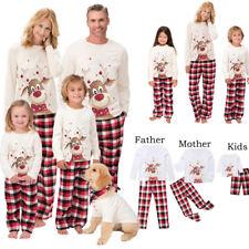 DE Familie Pyjama Set Weihnachten Top + Hose Nachtwäsche Schlafanzug Schlafanzüg
