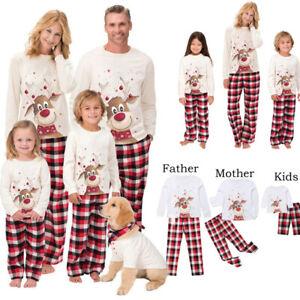 Family Matching Adult Kids Christmas Pyjamas Nightwear Sleepwear Xmas PJs Set GB
