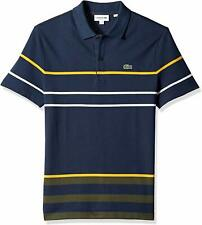 Lacoste Mens Shirts Navy Blue Size XL FR 6 Polo Regular-Fit Striped $125 057