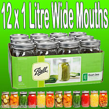 12 x 1 Litre Quart Wide Mouth Ball Mason Australia Preserving Jars BPA Free