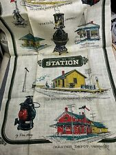 Vintage Linen Nice Kitchen Towel Fabric Historic Railroad Stations Unused