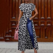 Womens Party Club Shirt Dress Tops Ladies Short Sleeve Long Maxi T-shirt Tunic