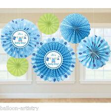 6 Blue Boy's New Baby Shower con AMORE PARTY DA APPENDERE Carta Ventilatore Decorazioni
