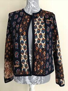 Ladies Navy Blue Brown And Orange Autumn Jacket Size M Medium 12 14 16