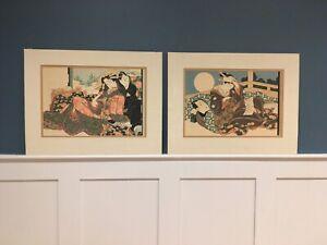 Pair of original Japanese, shunga prints - antique erotic art