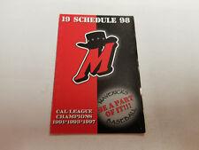 High Desert Mavericks 1998 Minor Baseball Pocket Schedule - Daily Press