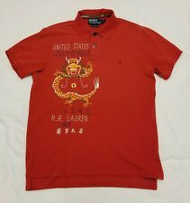 Ralph Lauren Polo USNC Dragon Embroidered Custom Fit S/S Sz Large