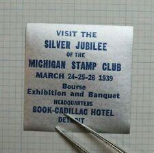 1939 Michigan Stamp Club Silver Jubilee Expo Bourse Souvenir Ad