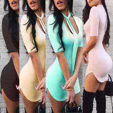 Women's Sexy Slim Fit Bodycon Half Sleeve Evening Party club Cocktail Mini Dress