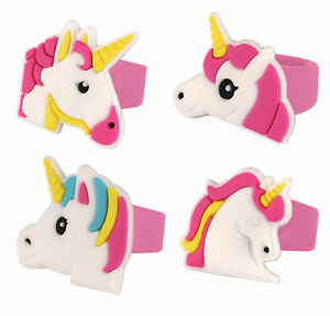 6 Unicorn Rubber Rings - Pinata Toy Loot/Party Bag Fillers Wedding/Kids