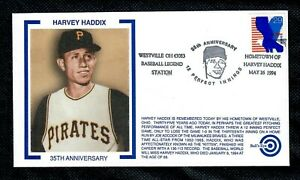 Harvey Haddix Pittsburgh Pirates Perfect Game cachet, 1961 Topps, news clipping
