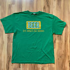 Beer It's What's For Dinner Vintage T-shirt Green XL Funny College Humor Green