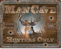 Man Cave Hunters Only Deer Trophy Bar Cabin Garage Wall Art Decor Metal Tin Sign