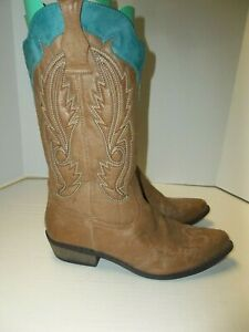 Womens Size 9.5M Coconuts Cimmaron Brown w/Teal Trim Cowboy Western Boots