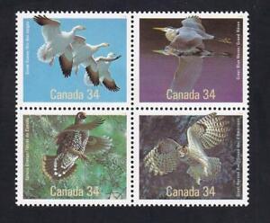 Canada 1986 Birds 34¢, MNH se-tenant block of 4, sc#1098a