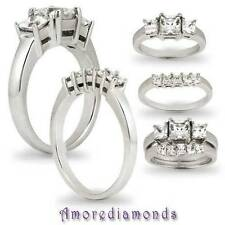 18k White Gold Three-Stone Engagement & Bands Ring Sets