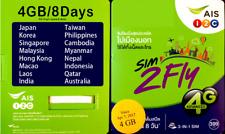 Pan-Asia AIS SIM 4GB /8Days Roaming Free for Asia- Japan Korea India, US seller