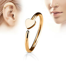 1pc Bendable Hoop Nose / Cartilage Ring w/ Heart Annealed Surgical Steel
