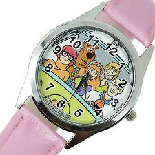 Película de dibujos animados SCOOBY DOO SHAGGY películas DVD Video Juego Rosa Cuero Reloj De Acero