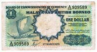 Malaya and British Borneo One Dollar Banknote 1959