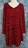 Catherines Womens 3X 26/28W Red Blue Stretch Thin Long Sleeve Sweater Knit Top