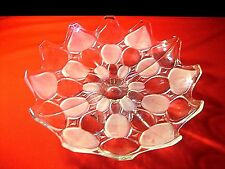 12'' FROSTED TO CLEAR MIKASA PEDESTAL CRYSTAL FOOTED FRUIT COMPOTE SCALLOP EDGE