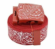 AccMall Men's Canvas Military Bandana Pattern Web Belt & Buckle 60 Inches Red