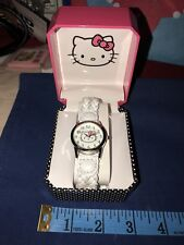 Sanrio Hello Kitty Wrist Watch Wristwatch White Leather Braided Band W Box 2013