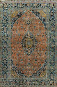 Antique Floral Traditional Medallion Area Rug ORANGE Wool Hand-knotted 9x13 ft