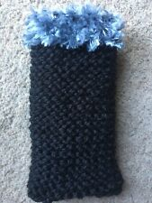 Hand knitted Mobile phone sock/cover/case Black /grey fluffy detail