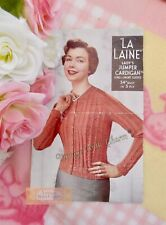 Vintage 50s Lady's Cardigan Knitting Pattern 2 Sleeve Lengths Fit 34in. Bust