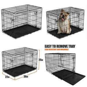 """Dog Crate Pet Cage Wired Folding Compact Storage Double-Door Removable Tray 36""""L"""