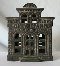 Antique Cast Iron CITY BANK w/DIRECTOR'S ROOM ON TOP Marked! CHAMBERLAIN & HILL