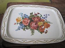 large flower mix vintage serving tray
