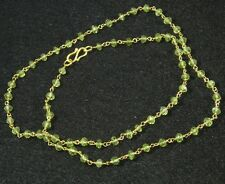 Gold on .925 Sterling Silver Vermeil Petite Faceted Green Peridot Necklace