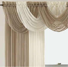 New 4 Panel Elegance Sheer Voile Curtains With 5 Scrafs