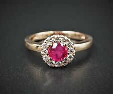 Solid 14k Rose Gold 0.75ct Diamond Halo Pink Sapphire Ruby Ring Size 7 RG1007