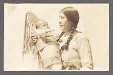 Real Photo Postcard Crow Indian and Babe in Papoose