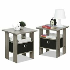 Side End Table 2 Wooden Gray Chairside Night Stand Drawer Storage Furniture Set