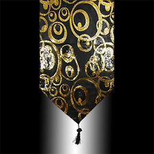 ABSTRACT SHINY GOLD BLACK SEQUINS DECO TASSELS WEDDING BED TABLE RUNNER CLOTH