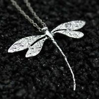 Fashion Women 925 Silver Wedding Dragonfly Necklace Pendant with Chain Jewelry