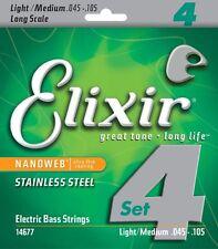 ELIXIR 14677 NANOWEB COATED STAINLESS STEEL BASS STRINGS, LIGHT/MED 4's - 45-105